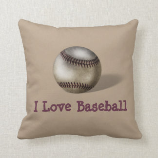 "Customizable ""I Love Baseball"" Pillow w/Baseball"