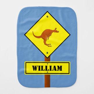 Customizable Kangaroo road sign Burp Cloth