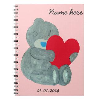 Customizable Love bear with heart Spiral Notebooks