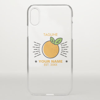 Customizable. Monogram. Cute  Fruit Orange. iPhone X Case
