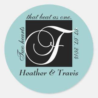 Customizable Monogram F Wedding Sticker