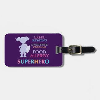Customizable Multiple Food Allergy Superhero Alert Luggage Tag