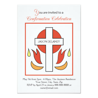 Customizable Name Invitation, Cross Fire Confirmat Card
