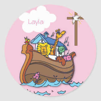 Customizable Noah's Ark Baby Baptism, Girl Pink Classic Round Sticker