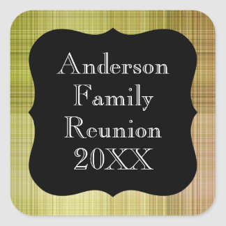Customizable Pale Green Plaid Family Reunion Square Sticker