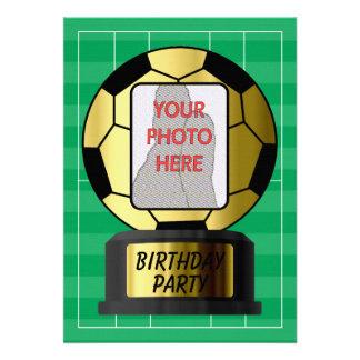 Customizable photo golden soccer ball invitations