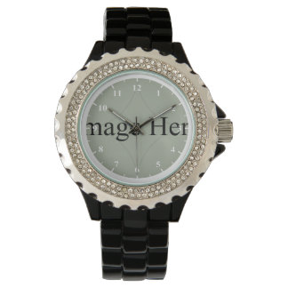 Customizable Photo, Women's Black Enamel Watch