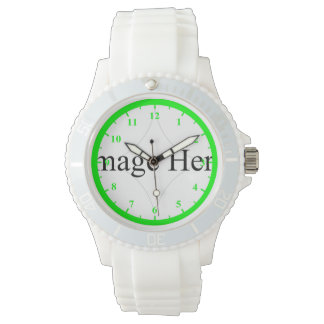 Customizable photo, Women's Sporty White Silicon W Watch
