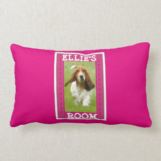 "Customizable Pink Pillow w/Basset ""Add Your Name"""