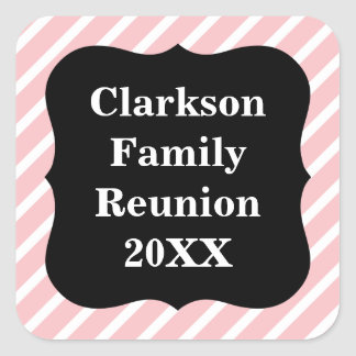 Customizable Pink Striped Family Reunion Stickers