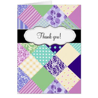 Customizable Pretty Patchwork Quilt Note Card
