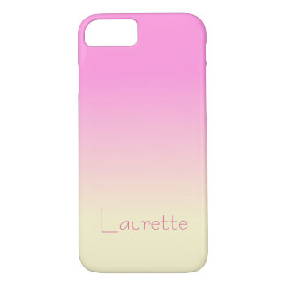 Customizable Simple Candy Pink and Cream Gradient iPhone 7 Case
