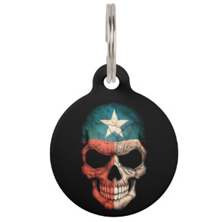 Customizable Texas Flag Skull Pet ID Tag