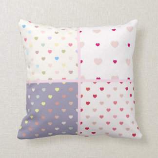 customizable trendy polka dot hearts hearts pink throw pillows