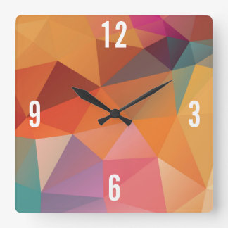 Customizable Triangles in Multi-color Hues Square Wall Clock