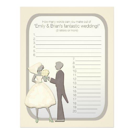 Customizable wedding shower name game flyer