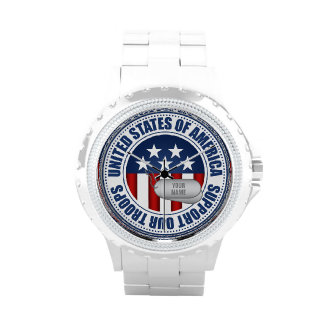 """""""Customize It Yourself"""" Support Ourt Troops Wrist Watches"""
