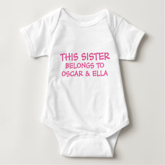 Customize sibling names on baby Sister's Baby Bodysuit