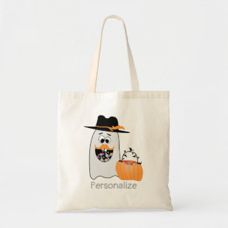 Customize Silly Halloween Ghost Wants Your Candy Tote Bag
