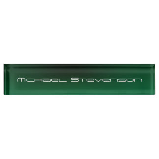 Customize Text Professional Modern Green Nameplate