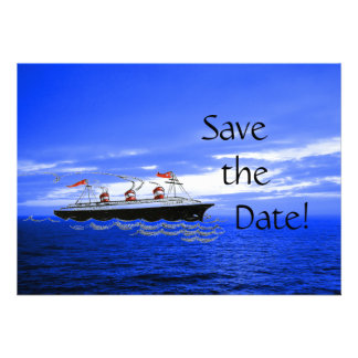 Customized Cute Ship Wedding Cruise Save the Date Personalized Announcement