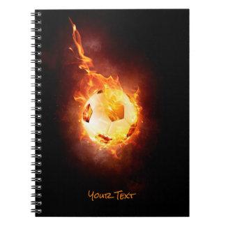 Customized Football under Fire, Ball, Soccer Spiral Note Books