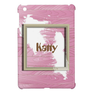 Customized Name in Frame on Pink Wood Case For The iPad Mini