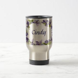 Customized Name Vintage Violets Travel Mug