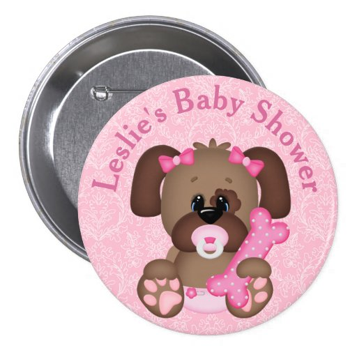 Customized Puppy Baby Shower Button