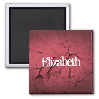Customized Red Clay Cracked Wall Texture Square Magnet
