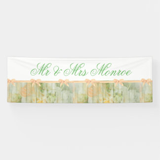 Customized Rustic Floral Wood Wedding Banner