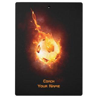Customized Soccer, Football, Ball under Fire Clipboard