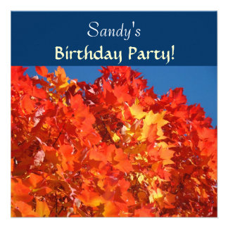 CustomYour Name Birthday Party Invitaitons Autumn Announcements
