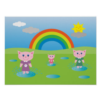 Cut Cartoon Cats Jumping In Puddles Poster