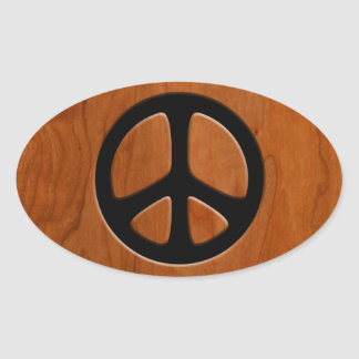 Cut-Out Wood Peace Oval Sticker