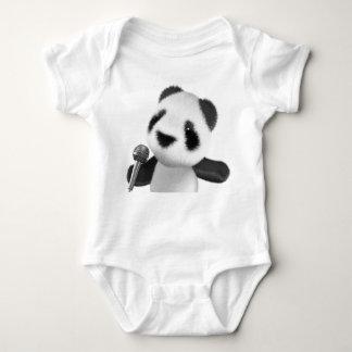 Cute 3d Panda Sings with a Mic (editable) Baby Bodysuit