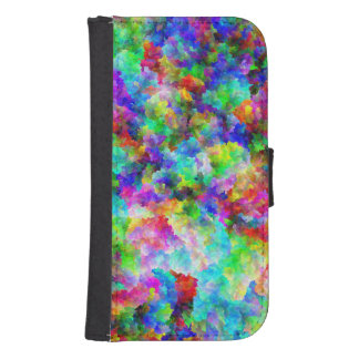 Cute abstract colorful brust texture samsung s4 wallet case