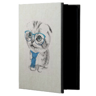 Cute adorable funny trendy kitten animal sketch cover for iPad air