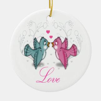 Cute adorable Love birds pink blue swirls flowers Christmas Ornament