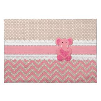 Cute adorable pink Paisleys elephant white lace Place Mats