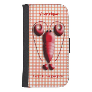 Cute Adorable Red Lobster Heart-Shaped Pincers Samsung S4 Wallet Case