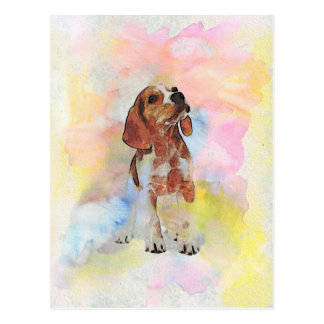 Cute adorable trendy puppy animal dog watercolours postcard