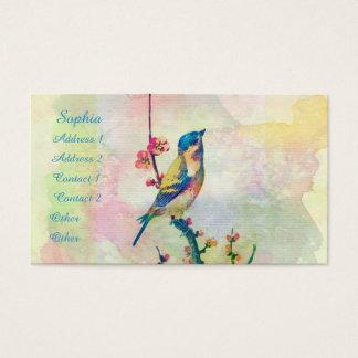Cute adorable vintage watercolours  bird floral business card