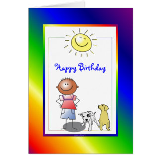 Cute African American Boy with Dog Card Cards