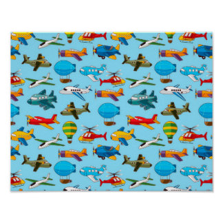 Cute Airplanes Helicopters Airships  Pattern Poster