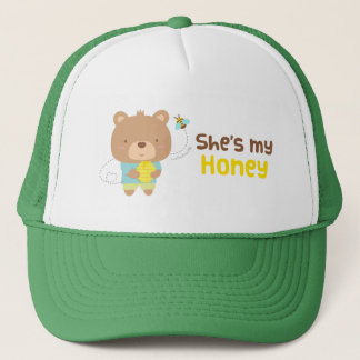 Cute Amusing Couple Male Bear and Bee Trucker Hat