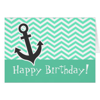 Cute Anchor on Aquamarine Chevron; zig zag Card