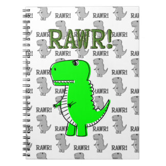 Cute and Angry T-Rex With Black And White Pattern Spiral Notebooks
