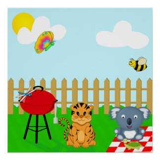 Cute and Colorful Back Yard BBQ Cartoon Animals Print