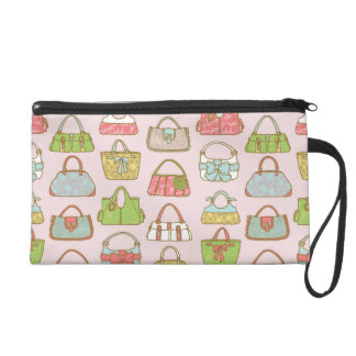 Cute and Colorful Bags Illustration Pattern Wristlet Purses